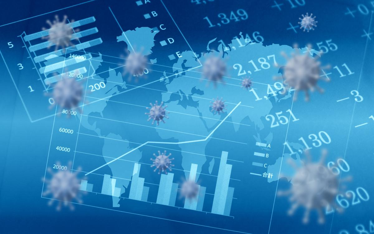 various-financial-data-charts-on-blue-background-with-virus-images