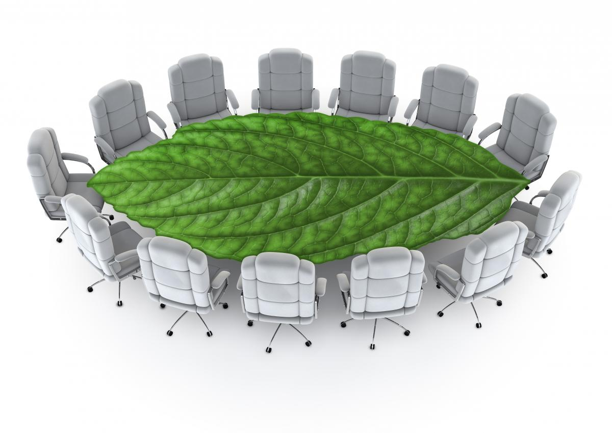 white-boardroom-chairs-encircling-a-green-leaf