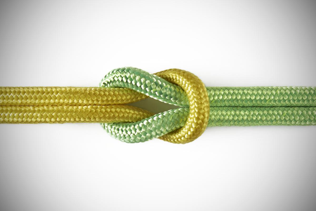 yellow-and-green-ropes-tied-in-square-knot